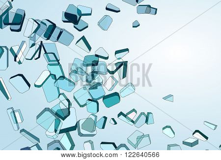 Shattered And Damaged Pieces Of Blue Glass