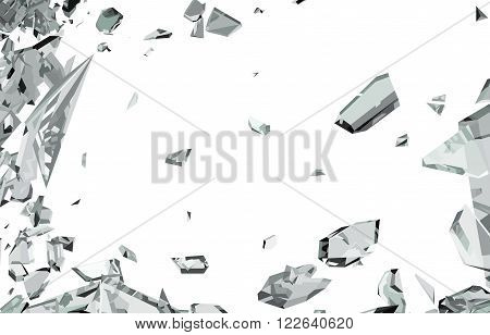 Smashed And Shattered Glass Isolated On White
