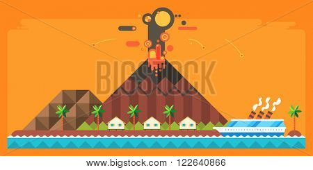 Natural disaster - the eruption of the volcano. Island Village. Tropical island. cruise ship rescues in distress.