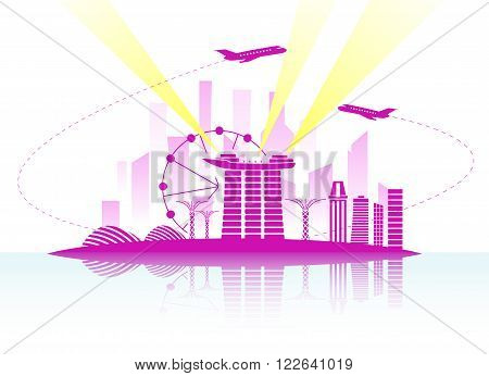 Singapore vector illustration background with plane jet. Travel concept
