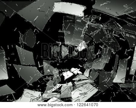 Pieces Of Destructed Or Shattered Glass On Black