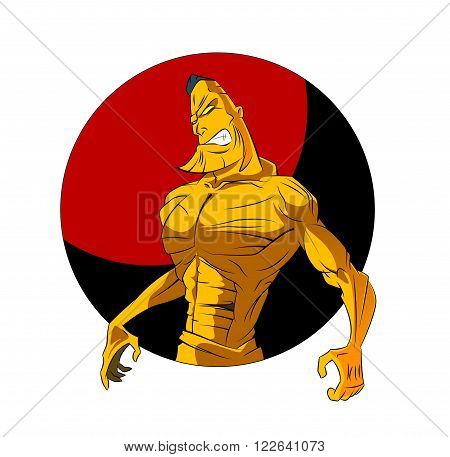 Sketch Vector Illustration:bodybuilder. strong muscular man. athlete or fighter