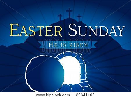 Template invitation to an Easter Sunday service in the form of rolled away from the tomb stone on a background of Calvary with three crosses. Easter Sunday Holy Week tomb and cross card