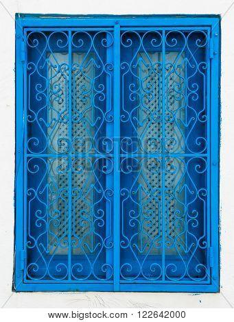 Traditional Blue Window From Sidi Bou Said In Tunisia