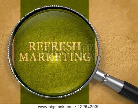 Refresh Marketing through Magnifying Glass on Old Paper with Dark Green Vertical Line Background. 3D Render.