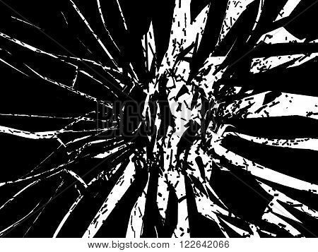 Shattered Or Smashed Pieces Of Black Glass Isolated