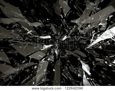 Splitted Or Broken Glass Pieces On Black
