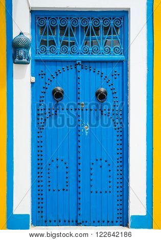 Traditional Blue Door With Ornament From Sidi Bou Said
