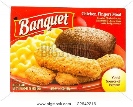 Winneconni WI - 22 July 2015: Package of a Banquet chicken fingers meal