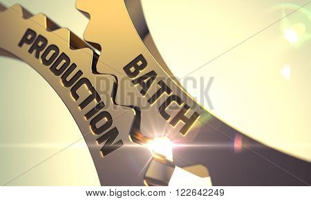 Batch Production on the Mechanism of Golden Cog Gears with Lens Flare. Batch Production - Industrial Design. Batch Production Golden Metallic Cog Gears. Batch Production - Concept. 3D Render.