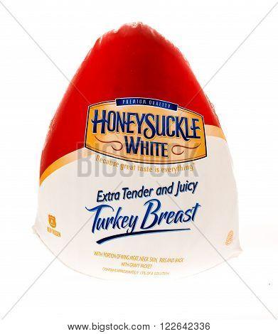 Winneconne WI - 27 July 2015: A frozen Honeysuckle White turkey breast