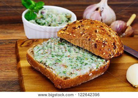 Salo, Pork with Garlic, Dill and Multi Grain Bread Studio Photo