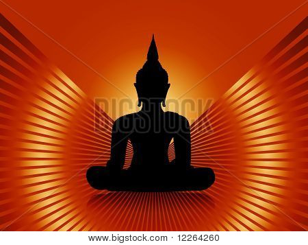 Isolated buddha silhouette against orange red rays background