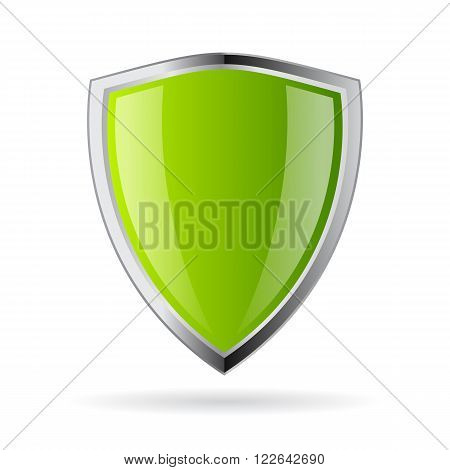 Green shield icon isolated on white background