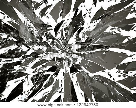 Sharp Broken Or Shattered Black Glass Isolated