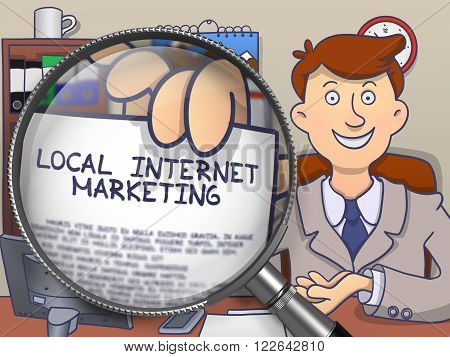 Local Internet Marketing on Paper in Man's Hand through Lens to Illustrate a eBusiness Concept. Colored Doodle Illustration.