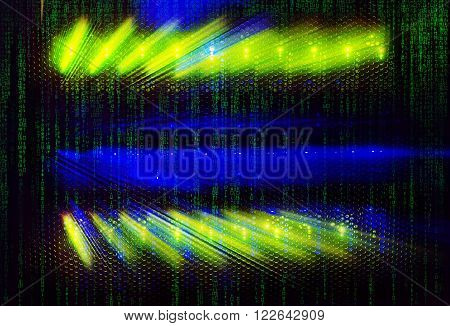 matrix code light indicators on mainframe data center in  dark with matrix code