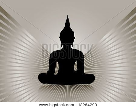 Buddha silhouette, isolated against grey rays background