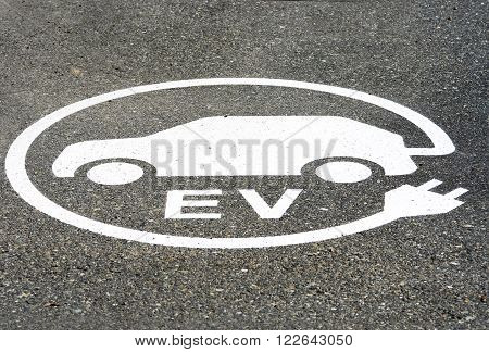 EV Electric Vehicle Charging Station Sign, Painted on the Ground, EV Parking Area