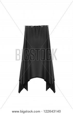 Black silk asymmetric skirt on white background