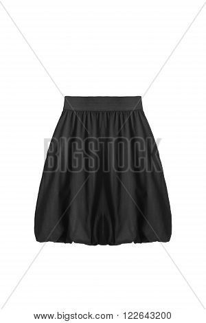 Basic black flared mini skirt isolated over white