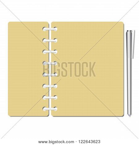Flat identity blank notebook sheets pages. Checklist memo testing. Paper, pen for writing, drawing, reminding, testing. Template for design. Vector illustration.