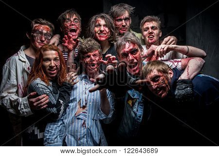 KIEV,UKRAINE - February 20 : People dressed as zombies during role-playing game about zombies and walking deads in Kiev,Ukraine on February 20,2016.