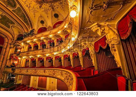 ZAGREB, CROATIA - March 17, 2016: Loggias balcony seats in Croatian National Theatre, a neo-baroque building, a masterpiece of the architects Ferdinand Fellner and Hermann Helmer.