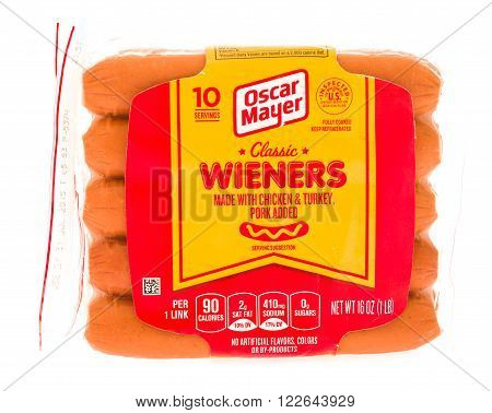 Winneconni WI - 30 June 2015: Packge of Oscar Mayer classic wieners dogs.
