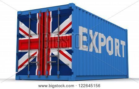 Export of Great Britain. Freight container on a white surface with inscription