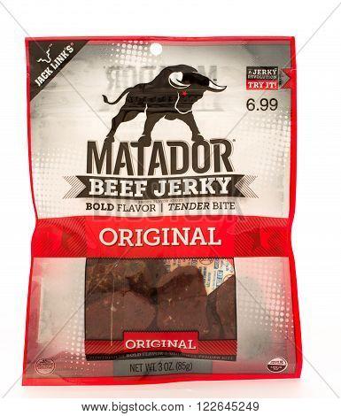 Winneconni WI - 16 June 2015: Bag of Matador beef jerky in original flavor.