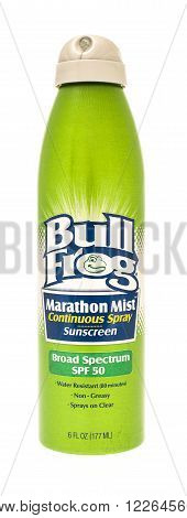 Winneconne WI - 27 July 2015: A spray bottle of Bull Frog sunscreen rated at SPF 50