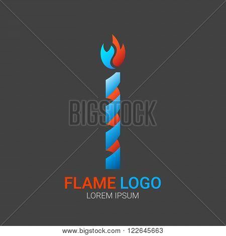 Candle logo. Fire Flame vector logo design template. Vector colorful design elements. Fire Flame creative icon. Abstract fire flame logo.