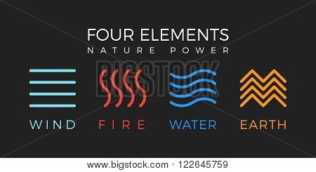 Four elements simple line symbol. Vector logo template. Wind fire water earth sign.