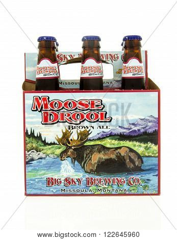 Winneconne WI - 15 March 2016: A six pack of Moose Drool beer