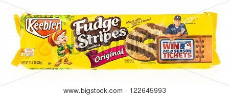 Winneconni WI - 23 June 2015: Package of Keebler fudge stripe cookies