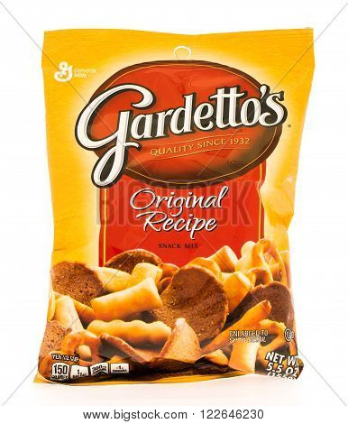 Winneconni WI - 19 June 2015: Bag of Gardetto's orginal recipe snack mix