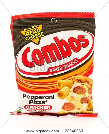 Winneconni WI - 19 June 2015: Bag of Combos in pepperoni pizza flavor