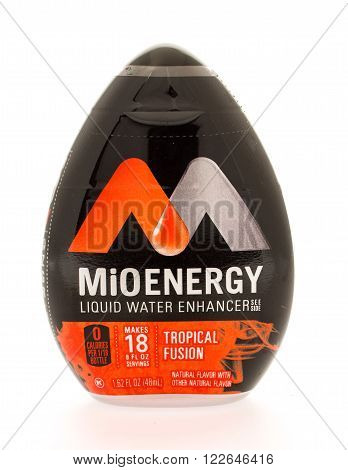 Winneconni WI - 13 June 2015: Bottle of MiO Energy liquid water enhancer in tropical fusion flavor.