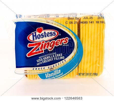 Winneconni WI - 16 June 2015: Package of Hostess zinger in vanilla flavor