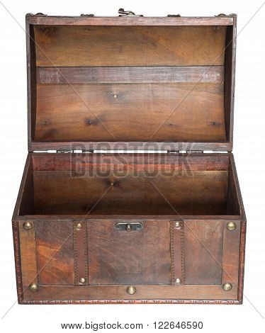 Old open chest. Isolated on a white background. Front view.