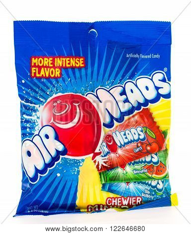 Winneconni WI - 19 June 2015: Bag of Air Heads fruit candy