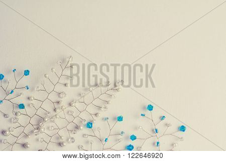 White Background With Beads With Free Space