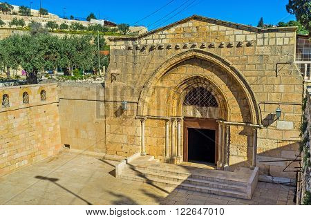 The facade of the Church of the Assumption (Mary's Tomb) located at the foot of Mount of Olives Jerusalem Israel.