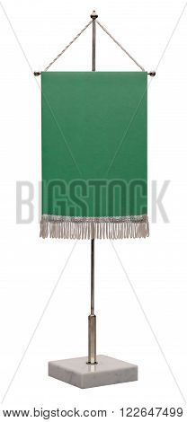 Pennant on steel spire on a marble pedestal isolated on white background