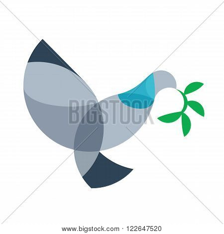 Dove bird vector outline sign, pigeon silhouette abstract geometric image  pigeon with bay leaf plant peace symbol