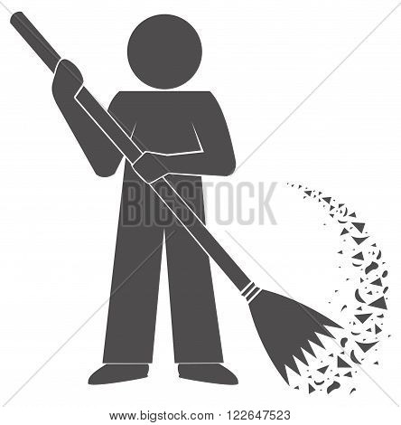 Janitor cleans garbage. symbol. Sweep broom. sign gray silhouette logo.