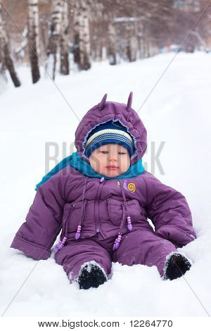 A Little Boy, Baby  Sits In The Snow, Snowball