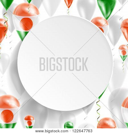 Flag of Niger. Independence Day. Flag of Micronesia on air balloon. Celebration and gifts. Balloons on the feast of the national day.  Use for brochures, printed materials, signs, elements