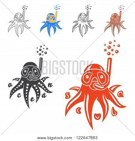 Vector image of an octopus on white background. Vector illustration with a octopus mask and snorkel. Logo and emblem template for snorkeling club.